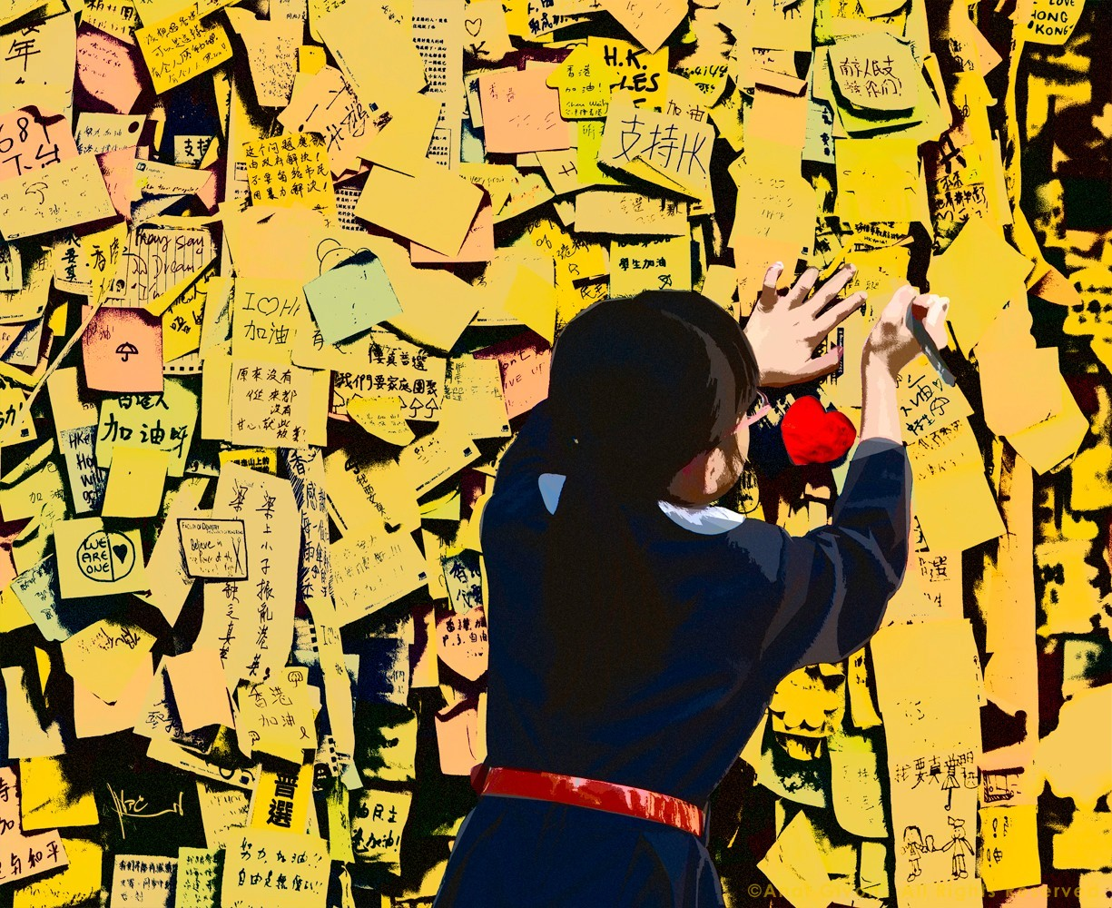 Occupy Central Girl Posts Message, HK