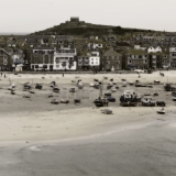 English Seaside St. Ives Panorama, Cornwall, UK